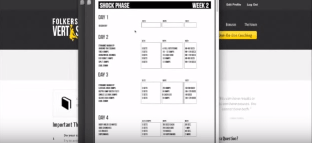 Vert Shock Workout Table 2